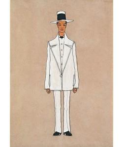 Egon Schiele, Selbstbildnis in weißem Anzug mit Panama-Hut. 1910