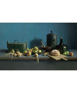 Henk Helmantel, Fruit and bread against blue