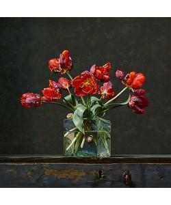 Roman Reisinger, Still life with parrot tulips