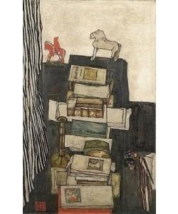 Egon Schiele, Stilleben mit Büchern (Schreibtisch des Künstlers). 1914