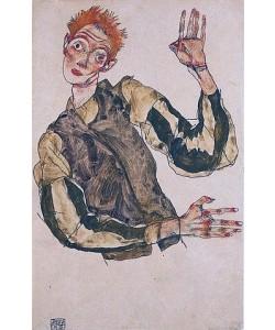Egon Schiele, Selbstdarstellung mit gestreiften Ämelschonern. 1915