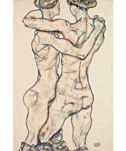 Egon Schiele, Sich umarmende Mädchenakte. 1914