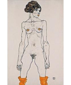 Egon Schiele, Stehendes nacktes Mädchen mit orangefarbenen Strümpfen. 1914