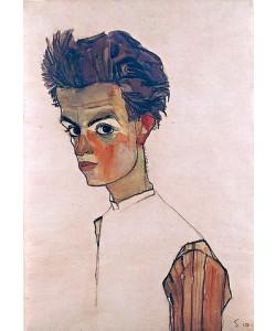 Egon Schiele, Selbstbildnis mit gestreiftem Hemd. 1910