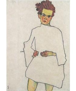 Egon Schiele, Selbstbildnis mit Hemd. 1910