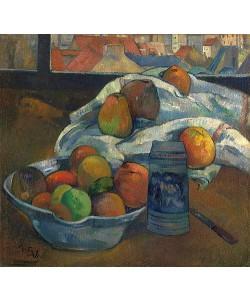 Paul Gauguin, Obstschale und Krug vor einem Fenster. Wohl 1890