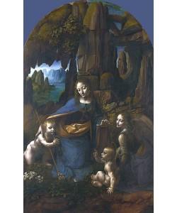Leonardo da Vinci, Die Felsgrottenmadonna (für den Altar San Francesco in Mailand). Um 1491/92-99 und 1506-08