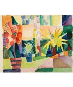 August Macke, Garten am Thunersee (Granatbaum und Palme im Garten). 1914