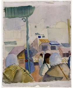 August Macke, Markt in Tunis (II). 1914