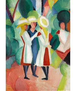 August Macke, Drei Mädchen mit gelben Strohhüten (I). 1913