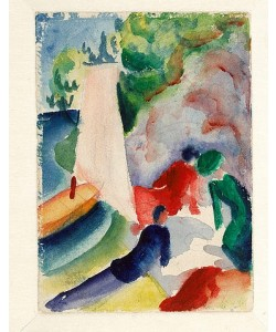August Macke, Picknick am Strand (Picknick nach dem Segeln). 1913