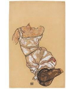 Egon Schiele, Weiblicher Torso in Unterwäsche und schwarzen Strümpfen. 1917