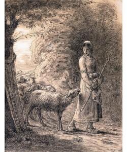 Jean-François Millet, Das Lämmchen. Um 1860