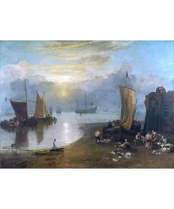Joseph Mallord William Turner, Sonnenaufgang im Dunst. Fischer beim Ausnehmen und Verkaufen von Fischen. Vor 1807