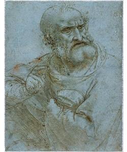 Leonardo da Vinci, Halbfigur eines Apostels. 1493-95