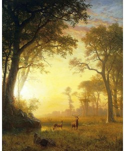 Albert Bierstadt, Sonnenbeschienene Lichtung (Light in the Forest).