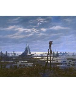 Caspar David Friedrich, Sumpfiger Strand (oder: Meeresufer bei Mondschein)