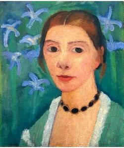 Paula Modersohn-Becker, Selbstbildnis vor grünem Hintergrund mit blauer Iris. 1900-1907.