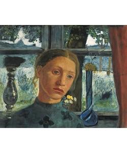 Paula Modersohn-Becker, Mädchenkopf vor einem Fenster. Um 1902.