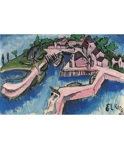 Ernst Ludwig Kirchner, Bootshafen auf Fehmarn. 1913.