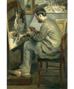 """Auguste Renoir, """"""""Bildnis von Frédéric Bazille, während er an """"""""""""""""Le héron aux ailes déployées"""""""""""""""" malt. 1867"""""""""""""""""""