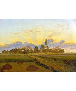 Caspar David Friedrich, Das brennende Neubrandenburg. 1835.