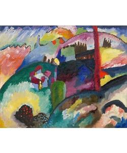 Wassily Kandinsky, Landschaft mit Fabrikschornstein. 1910