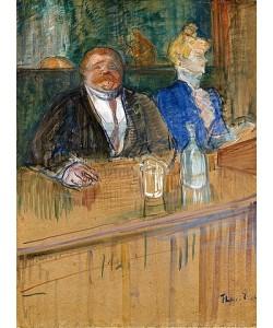 Henri de Toulouse-Lautrec, Im Café. Der Patron und die bleichsüchtige Kassiererin. (Au café: le patron et la caissière chlorotique). 1898