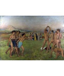 Edgar Degas, Junge Spartanerinnen fordern Knaben zum Wettkampf. Um 1860
