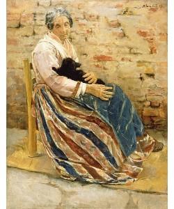 Max Liebermann, Eine alte Frau mit Katze. 1878.
