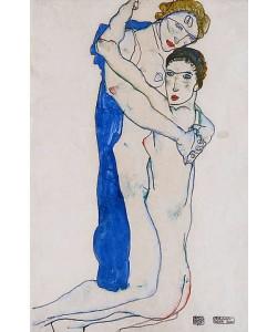 Egon Schiele, Freundin, Rosa-Blau. 1913