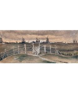 Vincent van Gogh, Windmühlen bei Dordrecht (Weeskinderendijk). 1881