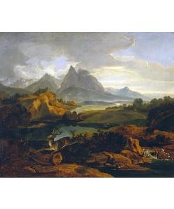 Carl Rottmann, Gebirgslandschaft mit fliehendem Hirsch (Um 1822)