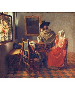 Jan Vermeer van Delft, Das Glas Wein. Um 1660/61