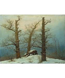 Caspar David Friedrich, Hünengrab im Schnee. 1810/20