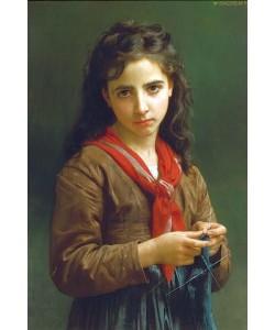 William Adolphe Bouguereau, Junges strickendes Mädchen. 1874.