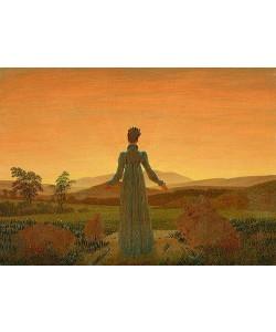 Leinwandbild, Caspar David Friedrich, Frau vor der untergehenden Sonne. Um 1818