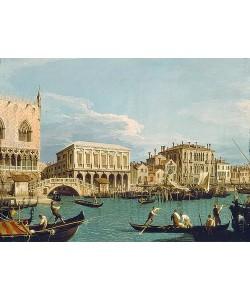 Canaletto (Giovanni Antonio Canal), Mole und Riva degli Schiavoni vom Bacino di S.Marco aus.