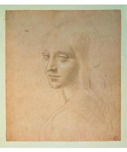 Leonardo da Vinci,  Kopfstudie einer jungen Frau