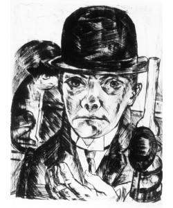 Max Beckmann, Selbstbildnis mit steifem Hut