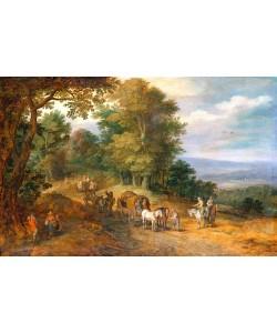 Jan Brueghel der Ältere, Belebter Fahrweg auf waldiger Höhe