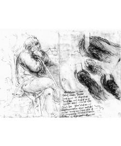 Leonardo da Vinci, Darstellung von Wasserwirbeln und Studie eines alten, sinnenden Mannes