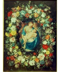 Jan Brueghel der Ältere, Blumenkranz mit Jungfrau, Kind und zwei Engeln