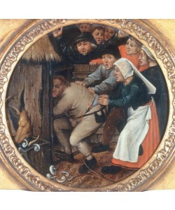 Pieter Brueghel der Jüngere, Der Trunkenbold wird in den Schweinekoben gesperrt