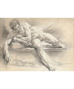 Francois Boucher, Aktstudie eines auf einer Steinbank liegenden Mannes