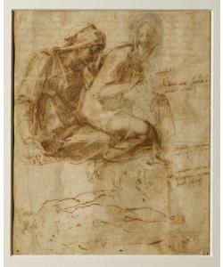 Michelangelo Buonarroti, Studie zu einer Anna Selbdritt, männliche Aktstudie, Zitate aus einem Sonnett Petrarcas