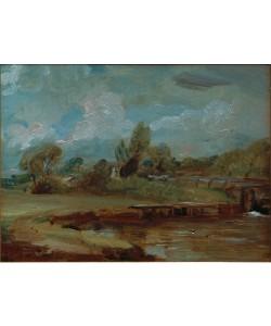 John Constable, Die Schleuse von Flatford, von einem Pfad am Fluss aus