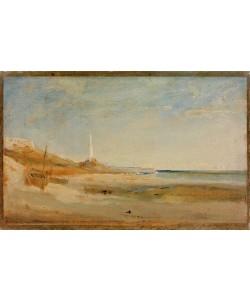 Karl Blechen, Boote und Leuchtturm bei Genua
