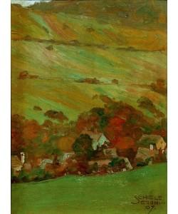 Egon Schiele, Häuser vor Bergabhang