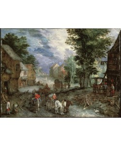 Jan Brueghel der Ältere, Landschaft mit Schmiede